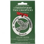 Silver Plated Christmas Decoration Celtic Dove Wales 0950